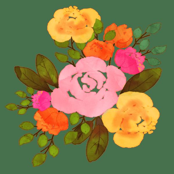 Runder Blumenstrauss Pastell Pink Orange